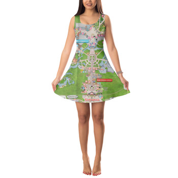 Sleeveless Flared Dress - Magic Kingdom Map