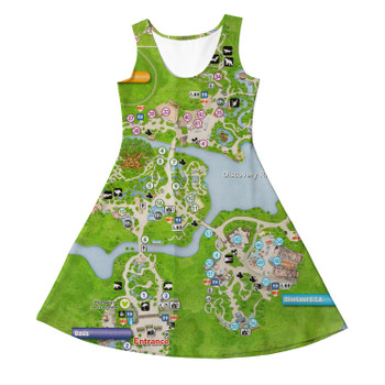 Girls Sleeveless Dress - Animal Kingdom Map