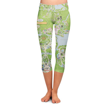 Yoga Capri Leggings - Animal Kingdom Map