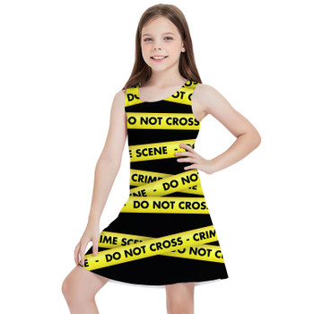 Girls Sleeveless Dress - Crime Scene Tape