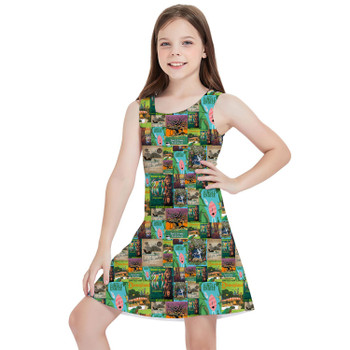 Girls Sleeveless Dress - Adventureland Vintage Disney Attraction Posters