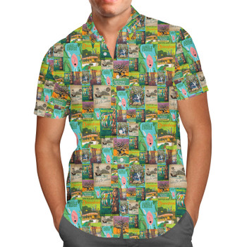 Men's Button Down Short Sleeve Shirt - Adventureland Vintage Disney Attraction Posters