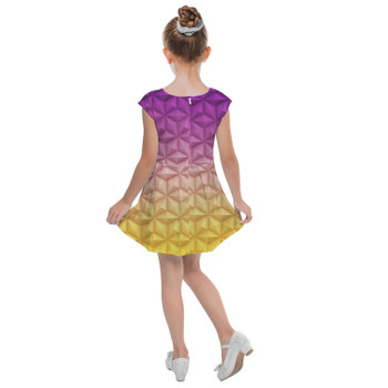 Girls Cap Sleeve Pleated Dress - Epcot Spaceship Earth