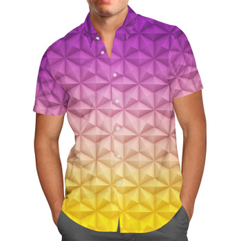 Men's Button Down Short Sleeve Shirt - Epcot Spaceship Earth