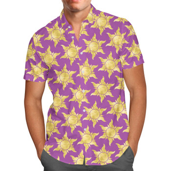 Men's Button Down Short Sleeve Shirt - Tangled Suns