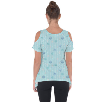 Cold Shoulder Tunic Top - Frozen Ice Queen Snow Flakes