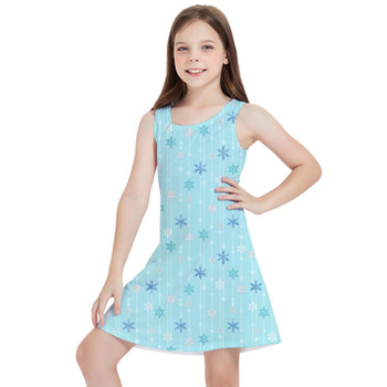 Girls Sleeveless Dress - Frozen Ice Queen Snow Flakes