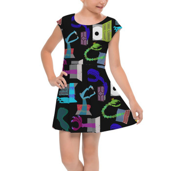 Girls Cap Sleeve Pleated Dress - Monsters in Closets