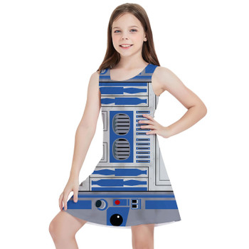 Girls Sleeveless Dress - Little Blue Droid