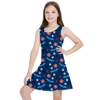 Girls Sleeveless Dress - American Superhero