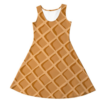 Girls Sleeveless Dress - Icecream Waffle Cone