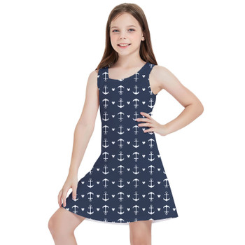 Girls Sleeveless Dress - Anchors Mouse Ears