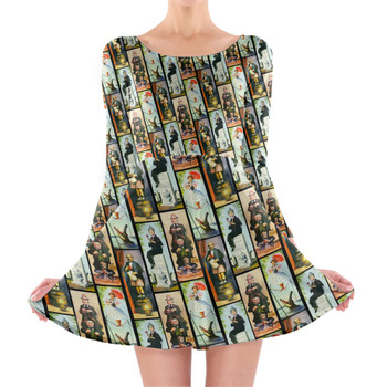 Longsleeve Skater Dress - Haunted Mansion Stretch Paintings