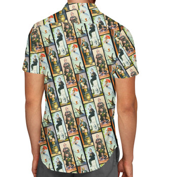 Men's Button Down Short Sleeve Shirt - Haunted Mansion Stretch Paintings