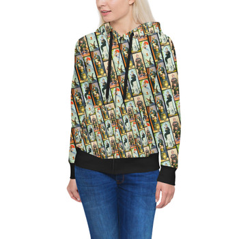 Women's Zip Up Hoodie - Haunted Mansion Stretch Paintings