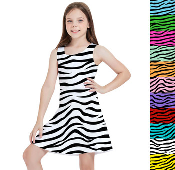 Girls Sleeveless Dress - Zebra Print