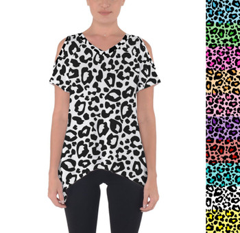 Cold Shoulder Tunic Top - Bright Leopard Print