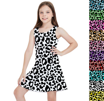 Girls Sleeveless Dress - Bright Leopard Print