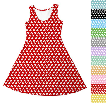 Girls Sleeveless Dress - Mouse Ears Polka Dots