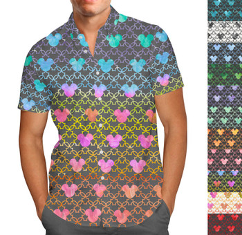 Men's Button Down Short Sleeve Shirt - Mouse Ears Watercolor