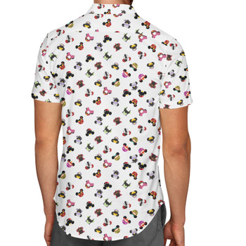 Men's Button Down Short Sleeve Shirt - Villains Mouse Ears