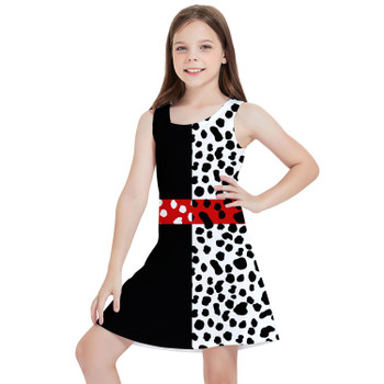 Girls Sleeveless Dress - Cruella de Vil Villains Inspired