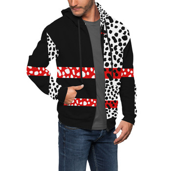Men's Zip Up Hoodie - Cruella de Vil Villains Inspired