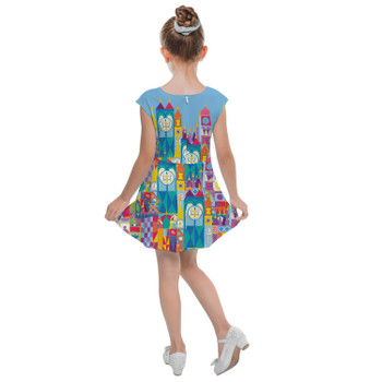 Girls Cap Sleeve Pleated Dress - Its A Small World Disney Parks Inspired