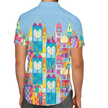 Men's Button Down Short Sleeve Shirt - Its A Small World Disney Parks Inspired