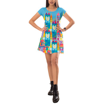 Short Sleeve Dress - Its A Small World Disney Parks Inspired