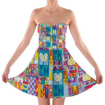 Sweetheart Strapless Skater Dress - Its A Small World Disney Parks Inspired