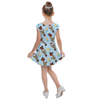 Girls Cap Sleeve Pleated Dress - Snack Goals Disney Parks Inspired