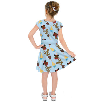 Girls Short Sleeve Skater Dress - Snack Goals Disney Parks Inspired