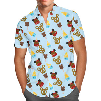 Men's Button Down Short Sleeve Shirt - Snack Goals Disney Parks Inspired