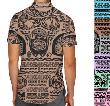 Men's Button Down Short Sleeve Shirt - Maui Tattoos Moana Inspired