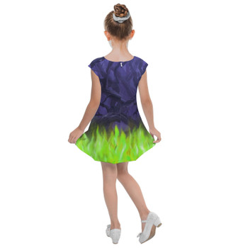Girls Cap Sleeve Pleated Dress - Forest of Thorns Maleficent Villains Inspired