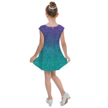 Girls Cap Sleeve Pleated Dress - Ariel Mermaid Inspired