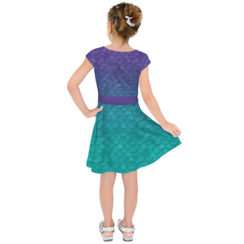 Girls Short Sleeve Skater Dress - Ariel Mermaid Inspired