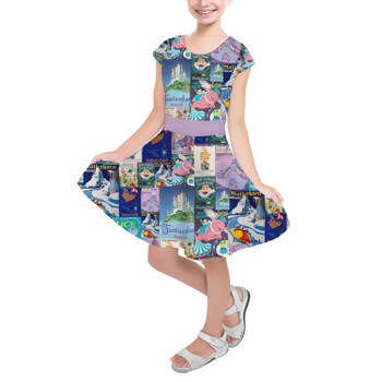 Girls Short Sleeve Skater Dress - Fantasyland Vintage Attraction Posters