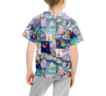 Youth Cotton Blend T-Shirt - Fantasyland Vintage Attraction Posters