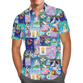 Men's Button Down Short Sleeve Shirt - Fantasyland Vintage Attraction Posters
