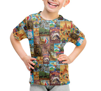 Youth Cotton Blend T-Shirt - Frontierland Vintage Attraction Posters