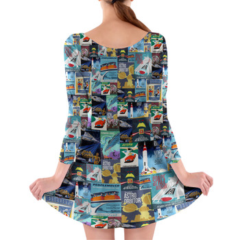 Longsleeve Skater Dress - Tomorrowland Vintage Attraction Posters