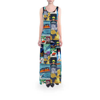 Flared Maxi Dress - Tomorrowland Vintage Attraction Posters
