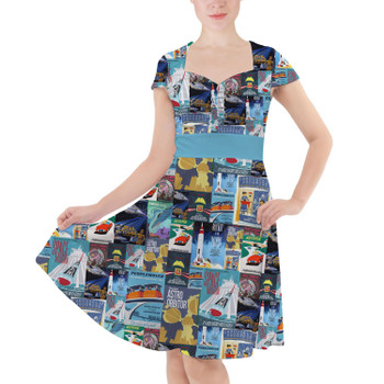 Sweetheart Midi Dress - Tomorrowland Vintage Attraction Posters
