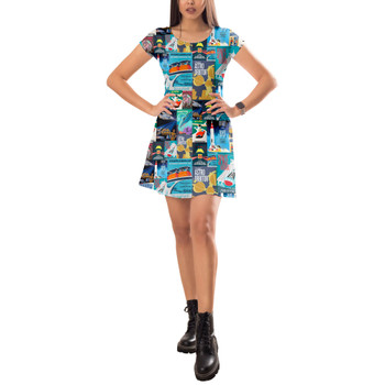 Short Sleeve Dress - Tomorrowland Vintage Attraction Posters