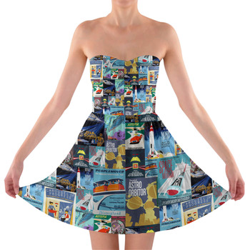 Sweetheart Strapless Skater Dress - Tomorrowland Vintage Attraction Posters