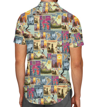 Men's Button Down Short Sleeve Shirt - Pixar Up Travel Posters
