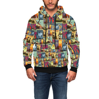 Men's Zip Up Hoodie - Pixar Up Travel Posters