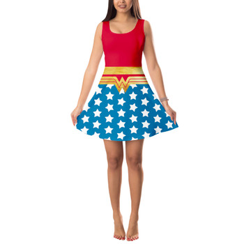 Sleeveless Flared Dress - Wonder Woman Super Hero Inspired